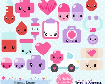 INSTANT DOWNLOAD - Kawaii Doctor Clipart for personal and commercial use