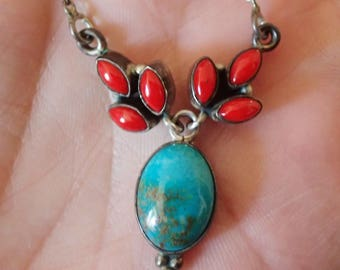 16 in Turquoise and Coral Sterling Silver Necklace