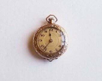 Antique Gold Filled Ladies Swiss Pocket Watch- 15 j; 10 1/2 lignes (approx 6/0s)