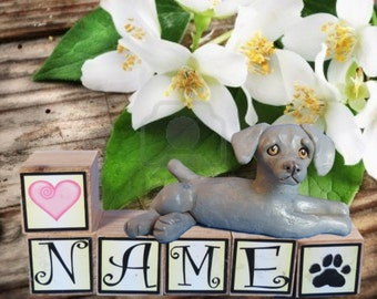 Weimaraner dog PERSONALIZED with your dog's name on blocks by Sally's Bits of Clay