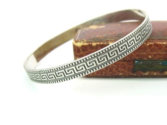 Vintage Danecraft Sterling Silver Greek Key Dots Bangle Bracelet 15g .53 oz