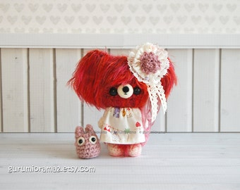 Bear kawaii petite fuzzy amigurumi crochet red orange stuffed plush, pink chibi totoro - Ready to Ship