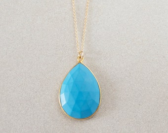 Turquoise Pendant Necklace - Gold Necklace - Turquoise Jewelry - Pendant Necklace