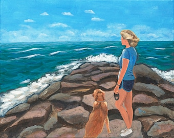 On the Jetty - Giclee on canvas