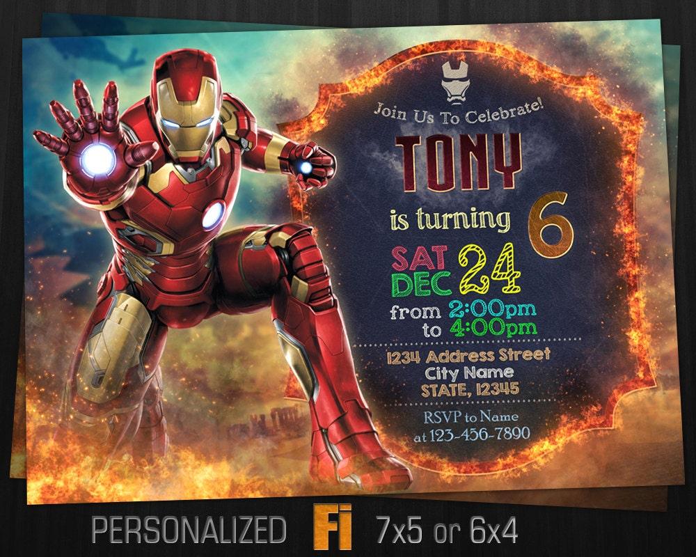 Iron Man Invitation Iron Man Birthday Party Marvel Ironman