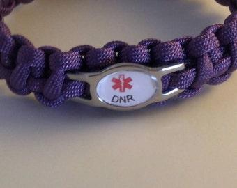 "DNR ""Medical Alert"" Paracord Medical Alert Bracelet,  No MRI, Heart, lungs , Cancer,Free Shipping"