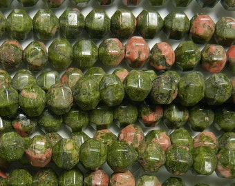 7mm geometric faceted round unakite beads 1 full strand (GSS-52)