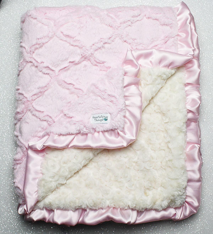 minky decke baby m dchen decke f r m dchen baby rosa und. Black Bedroom Furniture Sets. Home Design Ideas