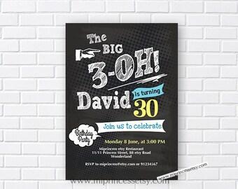 chalkboard birthday, oh birthday, adult birthday,  birthday invitaiton, men birthday ,woman birthday, the big 3 oh, 30th birthday,  card 693