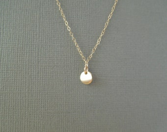 tiny necklace, dainty gold necklace, simple necklace, tiny disc, tiny medallion, small necklace, delicate gold pendant