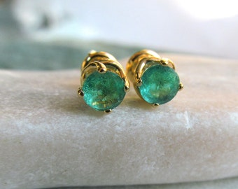 14k Yellow Gold Stud Natural Emerald Earrings, Fine Jewelry