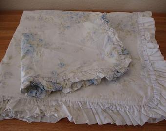"2 pc. TWIN Rachel Ashwell Shabby Chic DUVET Cover & Pillow SHAM Set ""British Blue Rose"" ruffled eyelet lace - vintage cotton bedding Set"