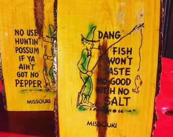 """Vintage unused Hillbilly souvenir Salt and Pepper shakers from Missouri @3"""" tall made from a branch"""
