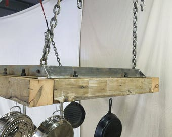 Reclaimed redwood hanging pot rack