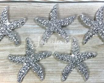 30mm, Rhinestone Starfish, Starfish Embellishments, Flatback Buttons, Flat Back, Rhinestone Buttons, Jewelry Supply, Starfish Buttons