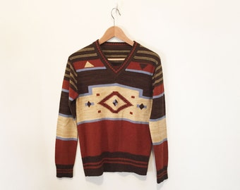 Southwestern Graphic Knit Earth Tones Sweater