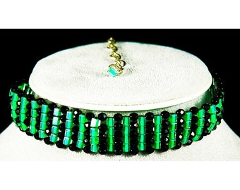 green and black crystal adjustable bead weaving choker