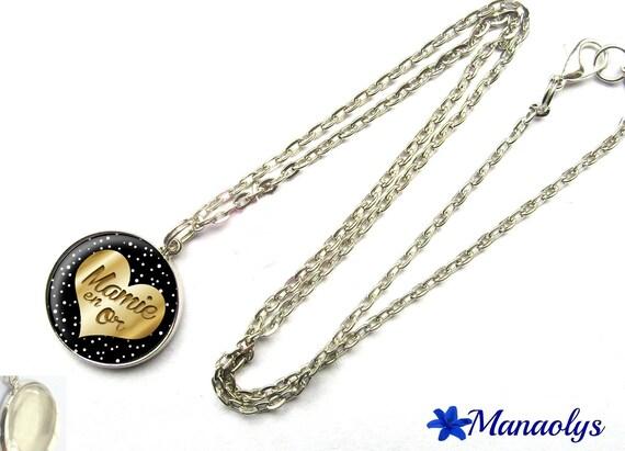 Chain necklace Silver Gold 324 Grandma glass cabochon