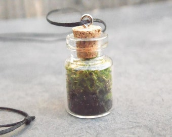 Terrarium Necklace / Moss terrrarium / Vial Bottle Necklace / Botanical Necklace / Glass Terrarium Necklace / Moss in Vial