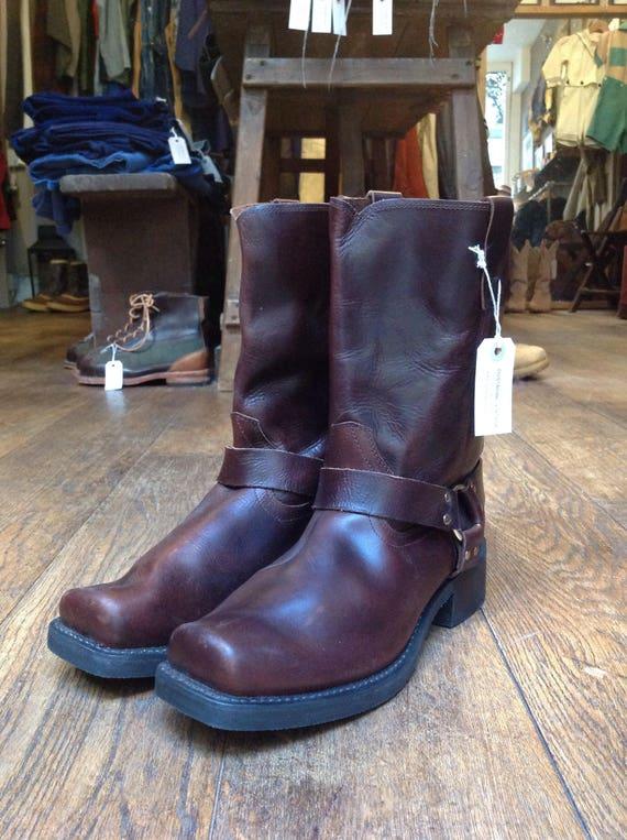 Vintage deadstock Durango conker oxblood brown harness square toe ring boots cowboy Western US 13 UK 12 rockabilly motorcycle Marlon Brando