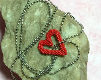 Heart Shaped Pendant Red Beaded Heart Valentine Pendant Floating Heart Red Peyote Pendant Beadwoven Pendant Peyote Bead Pendant