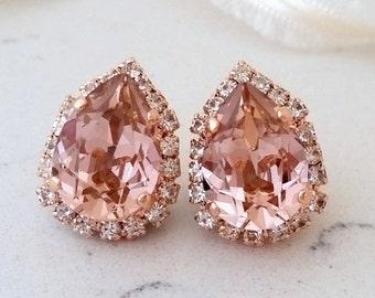 Blush earrings,Rose gold morganite earrings,Rose gold bridal earrings,blush pink bridesmaid earrings,blush stud earrings,Swarovski earrings