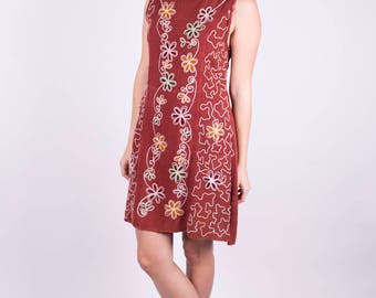 Hippie Dress Sacred Threads Dress Floral Dress Sleeveless Dress Boho Dress Bohemian Dress Embroidered Dress Adobe Dress Size: M