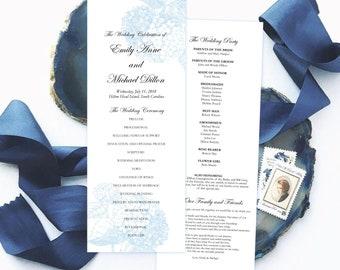Printable Botanical Wedding Program  - Hydrangea Wedding Program - wedding ceremony program template