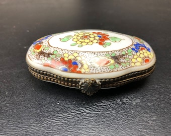Vintage Hand Painted Floral Trinket Box Unsigned Trumpet on Bottom