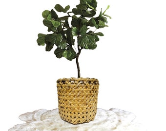 "Vintage Bamboo Planter 20"" Basket  Bent Bamboo Basket Bohemian Decor Wide Lattice Woven Basket Linen Storage Bamboo Hamper Basket End Table"
