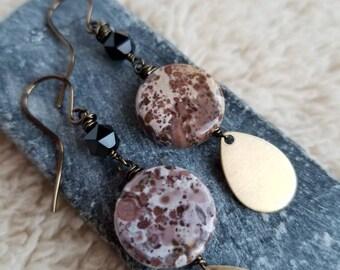 Purple Jasper Drop Earrings, Leopard Skin Jasper Earrings, Brass Teardrop Dangles, Onyx Earrings, Purple Stone Dangles, Jasper and Onyx Drop