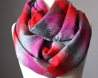 Ethnic infinity scarf, tribe scarf, tribal scarf,  hippie inspired scarf, handmade scarf, magenta scarf