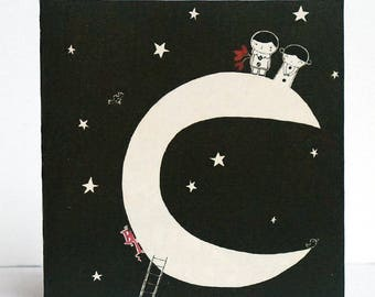 Card, Pierrot and Pierrette on Moon C071