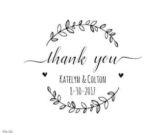 thank you stamp-wreath stamp -Custom Wedding Stamp,custom thank you gift-  Wedding FAVOR Stamp - Calligraphy