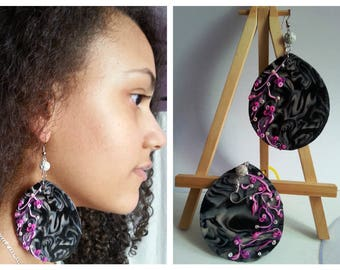 Polymer clay and voilet pierced earrings