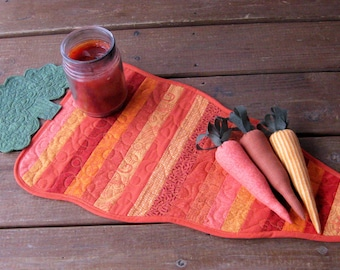 Spring Table Runner Topper,  Carrot Table Topper Runner