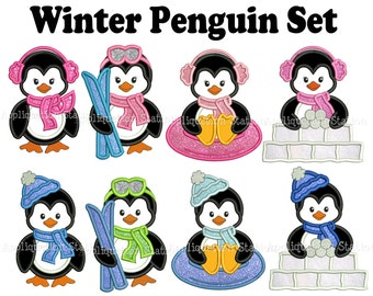 Cute Winter Penguin Full Complete Set of 8 Applique Machine Embroidery Design Christmas sledding, tubing, skiing, ski INSTANT DOWNLOAD