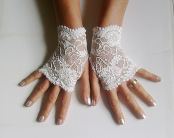 Ivory french lace gloves bridal  gloves ivory lace gloves fingerless gloves
