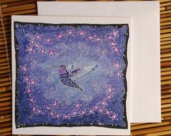 Hummingbird in Violet Greeting Card - Print of Original Silk Painting