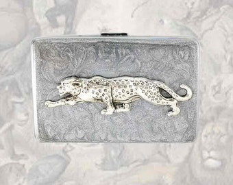 Metal Accordion Wallet with Organizer Inside Antique Silver Leopard Inlaid in Hand Painted Enamel Custom Colors and Personalized Options