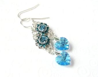 Aquamarine Blue Heart Earrings, Heart Drop Earrings, Swarovski March Birthstone Jewelry, Birthstone Heart Earrings