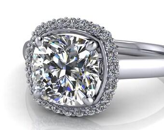 Diamond Halo Moissanite Engagement Ring