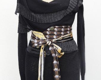 Sash tie BAROCCO black / gold with personalized epoxy