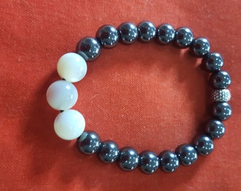 adorned with pearl beads hematite beads