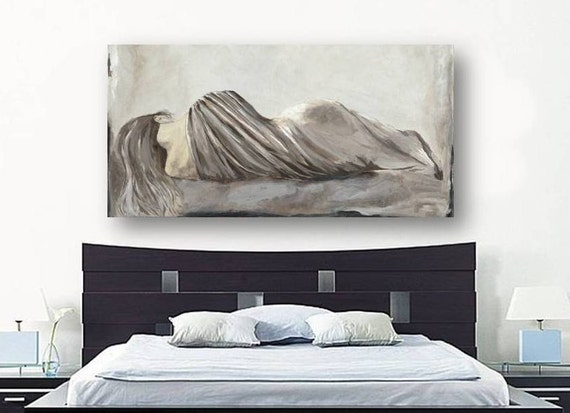 Oversized bedroom wall art greige netural extra large bedroom