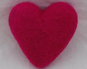 100% Wool Felt Heart - 10cm (4 inches) - Garden Rose Pink