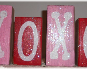 Valentine's Day XOXO Blocks Wood Glitter Blocks Set Pink And Red Valentine's Day Glitter Wood Blocks Valentine's Day Decor