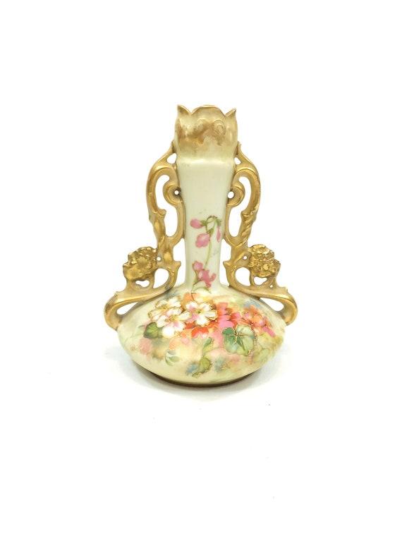 Ernst Wahliss Double Handled Ewer Vase, Art Nouveau Style, Pink White Flowers, Raised Gold Work, Turn Vienna Mark, 1900s Antique Porcelain