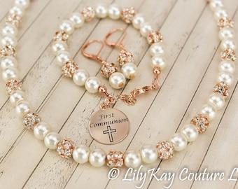 First Communion Gift, First Communion, Rose Gold Flower Girl Bracelet, Communion Jewelry, Rose Gold Communion, Rose Gold, Pearl Jewelry Set