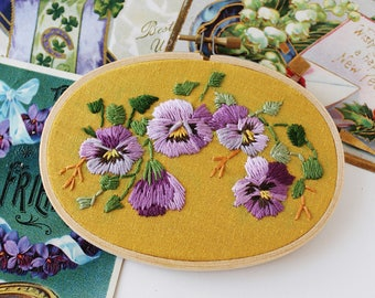 Modern Embroidery Design | Floral Hand Embroidery | Botanical Embroidery Hoop Art | Crewel Embroidery Art | Embroidered Pansy Flowers
